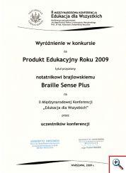 Wyróżnienie w konkursie na produkt edukacyjny roku 2009 przyznane przez uczestników konferencji Edukacja dla Wszystkich